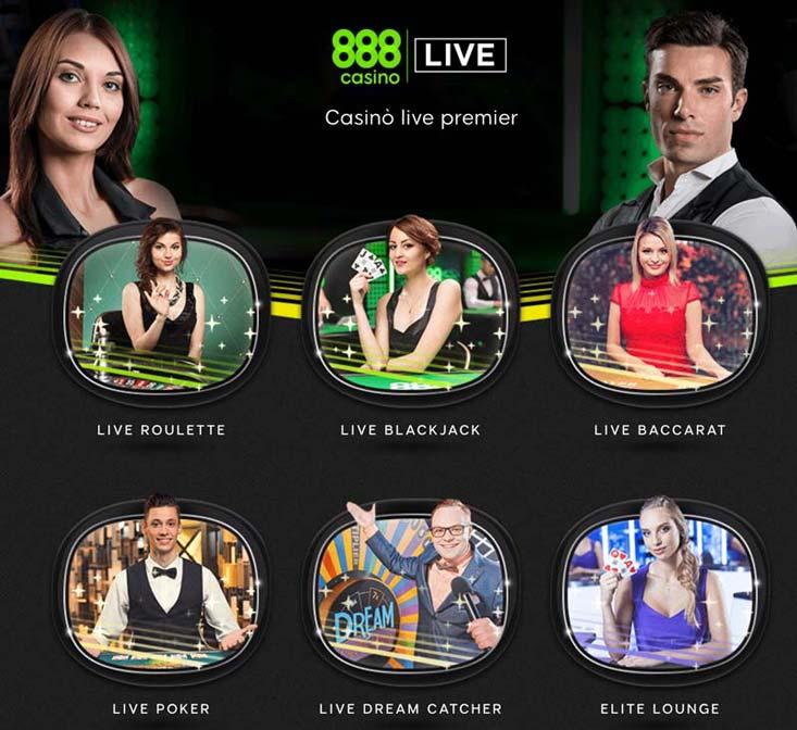 lobby del casinò dal vivo a 888casino