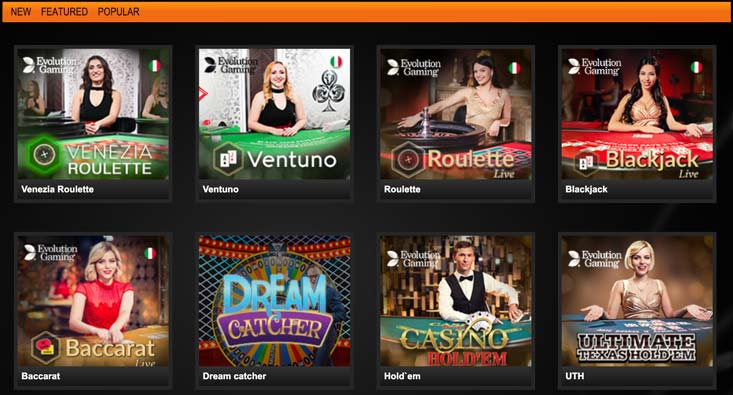 lobby del casinò dal vivo a Betatomic