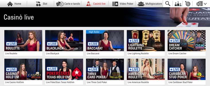 Lobby del casinò dal vivo a Pokerstars Casino