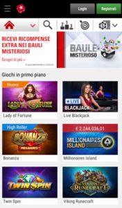 Casino Lobby mobile Pokerstars casino