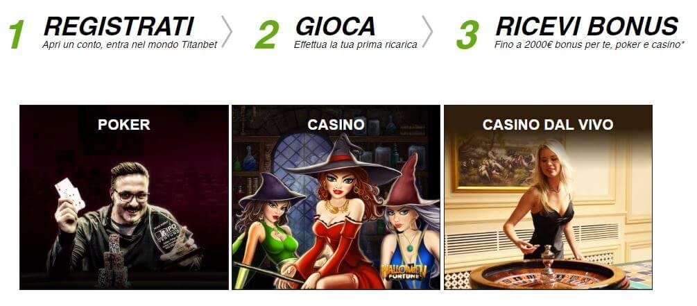 3 semplici passaggi per riscattare l'offerta di Titanbet di benvenuto per casinò e poker.