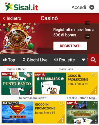 Casino Lobby mobile Sisal