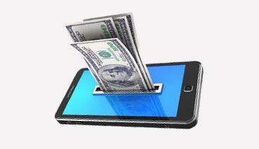 Il denaro viene ritirato da un cellulare