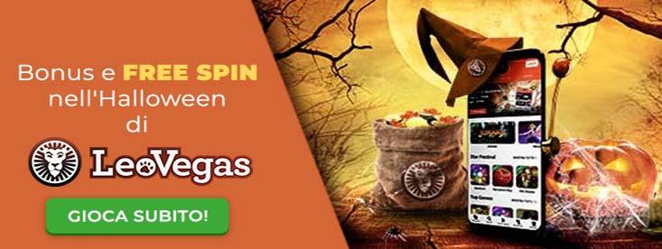 Esempio di immagine della promozione halloween di leovegas