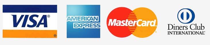 immagine con loghi di Mastercard, Visa, American Express e Diners Club