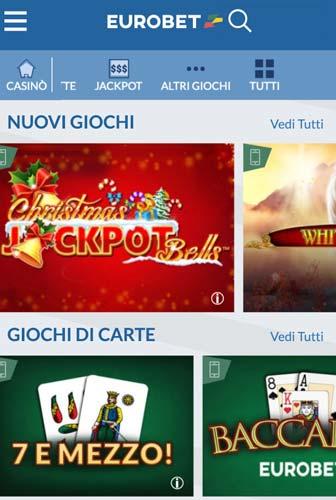 Casino Lobby mobile eurobet